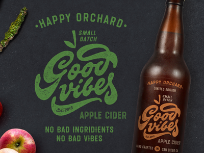 Good Vibes Apple Cider tasty vintage retro octagonal textured organic craft bottle font typeface lettering type