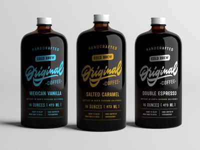 Cold Brew Original Coffee tasty vintage retro octagonal textured organic craft bottle font typeface lettering type
