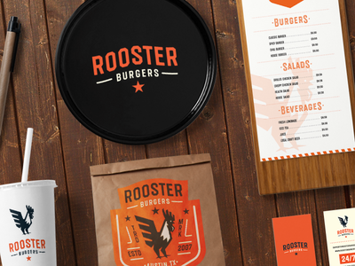 Rooster Burgers tasty vintage retro octagonal textured organic craft bar font typeface lettering type