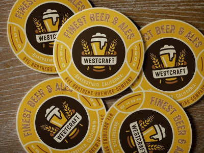 Beer Coasters beer vintage retro brew textured organic craft bottle font typeface lettering type