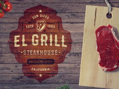 El Grill tasty vintage retro steak textured restaurant bbq meat font typeface lettering type
