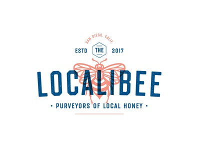 Localibee wings retro vintage lockup typography logo fly sweet comb bumblebee honey bee