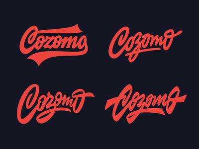 Cozomo design retro hand calligraphy font vintage minimal brush typography custom script lettering type logo