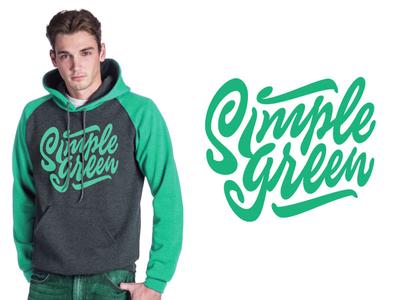 Simple Green clean design vintage hand brush custom retro script type typography lettering logo