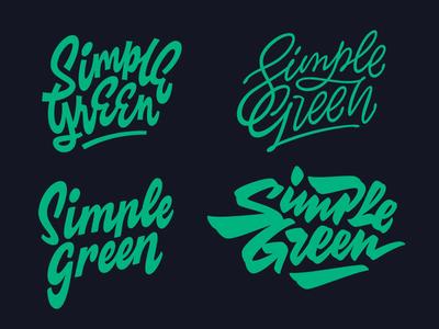 Simple Green drawn apparel retro hand calligraphy font minimal vintage brush script custom type typography lettering logo
