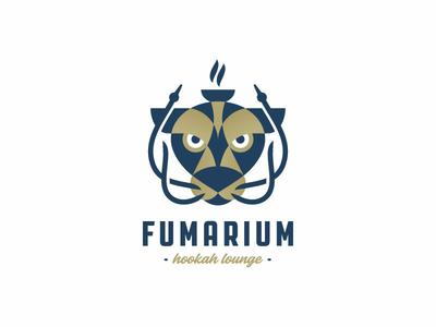 Fumarium face head bar identity smoking cat puma smoke flat lounge hookah illustration retro logo