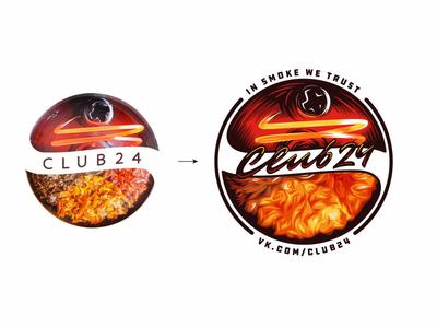 Club24 woodcut illustration vintage fire bulb shisha hookah tabacco smoke custom script typography type lettering logo