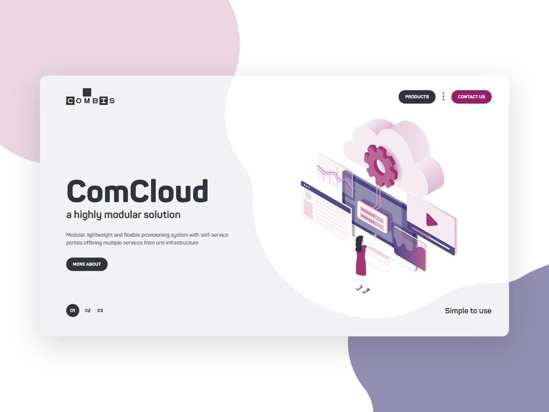 ComCloud cloud app cloud business vector illustration web design ux ui desktop website design