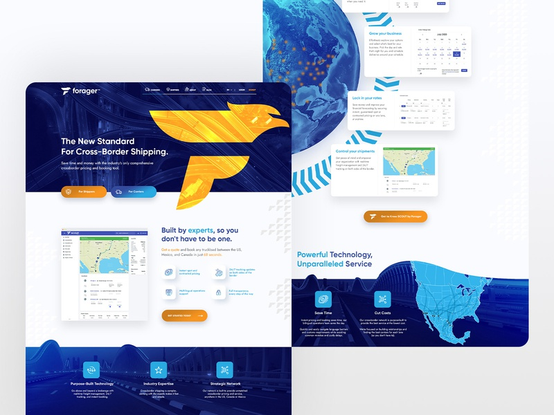 Forager shipping blue business web design ux ui desktop website design