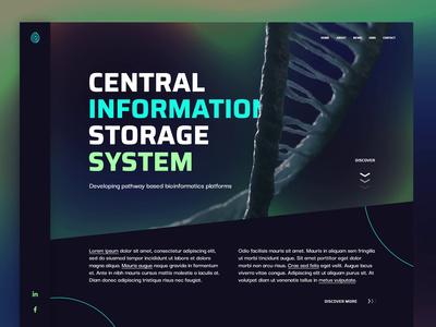 BioTech neon green blue gradient black dark ui ux web design animation desktop website design biotechnology biotech