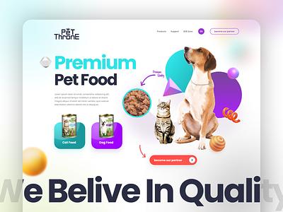 Pet Throne - Premium Pet Food playful colors web design ux ui website desktop dog food cat food cat pets pet food dog pet webdesign business