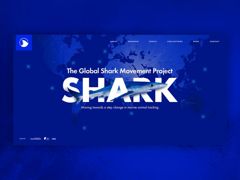 Global Shark Movement Project desktop design website homepage ui ux blue sea web  design shark web shark