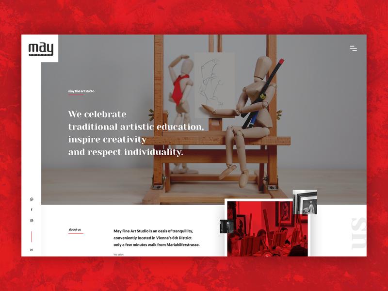May Fine Art Studio art courses art gallery web design may art studio art ux ui desktop website design
