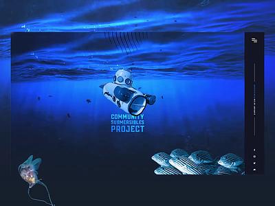Community Submersibles Project kickstarter fish dark blue deep sea submarine animation ui ux desktop website design