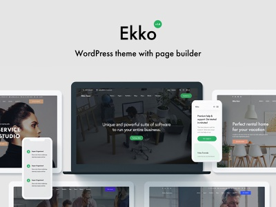 Ekko - WordPress Theme with Page Builder landing page design wordpress themes woocommerce company website business website ekko startup wordpress theme website wordpress website design landing page webdesign