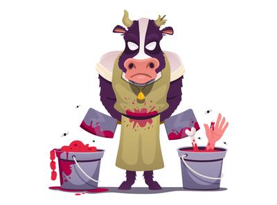 Cow's Redemption veganism cow vector illustration