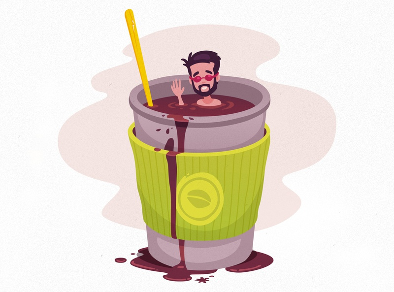 Coffee Swimmer caffeine swimmer coffee vector illustration