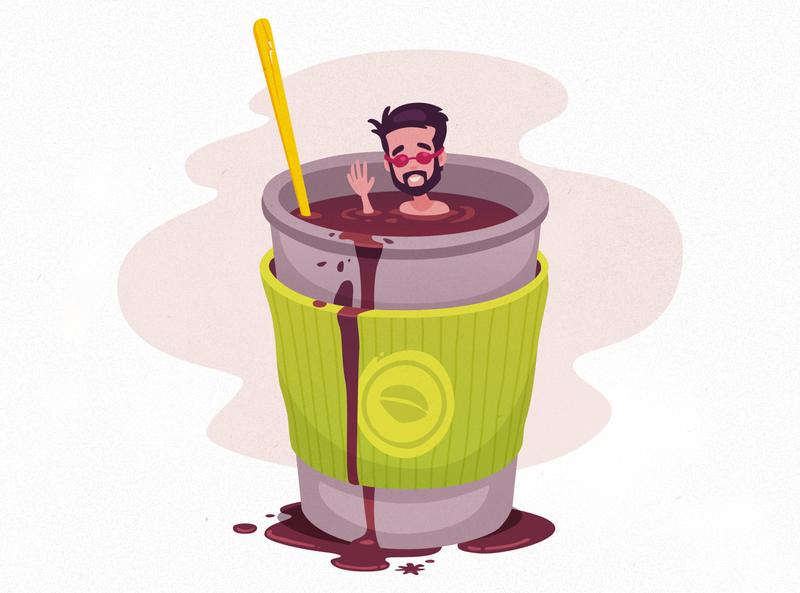 Coffee Swimmer caffeine swimmer coffee vector illustration