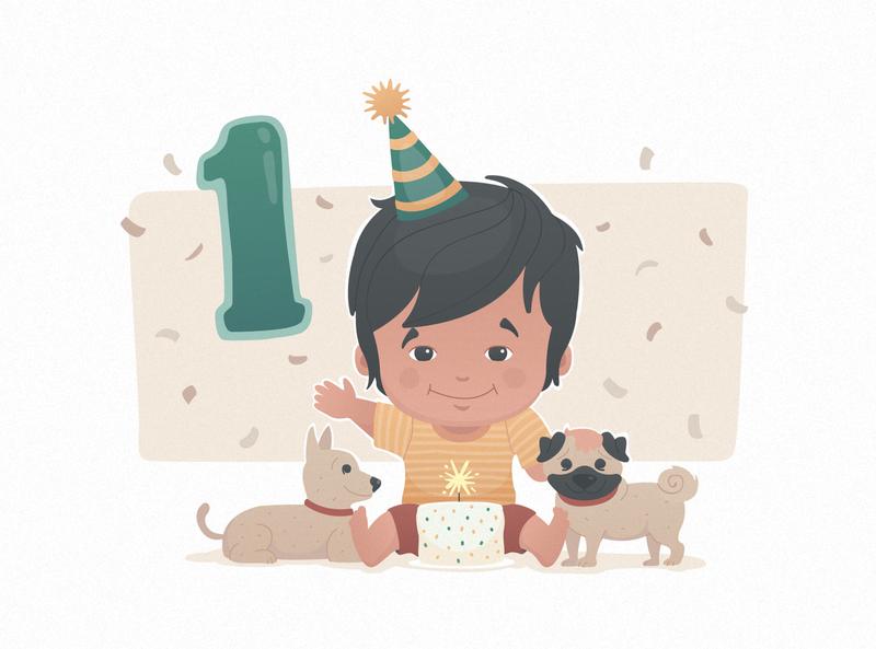 Magnus baby birthday vector illustration
