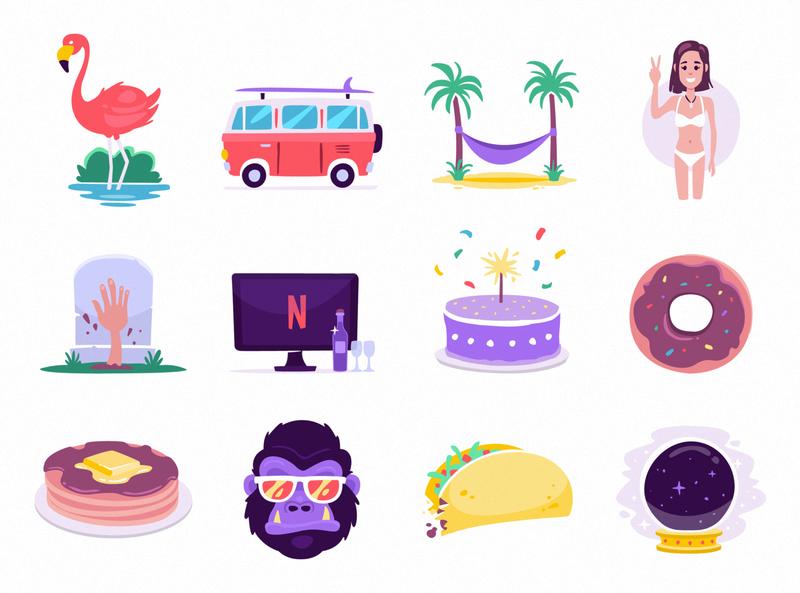 Messaging Stickers summer food random stickers for imessage vector illustration