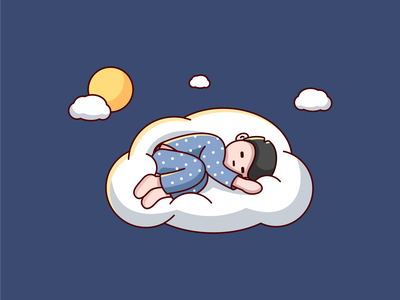 good night flat vector illustration