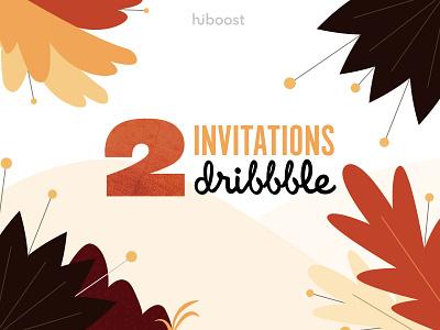 Dribbble invites ! typography vector autumn leaves designer autumn invites giveaway invites