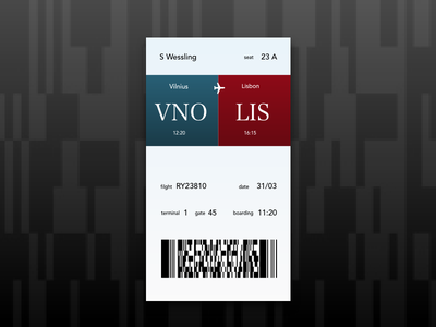 boarding pass - dailyUI 024 daily ui challenge boarding pass travel flight ticket day024 ui dailyui