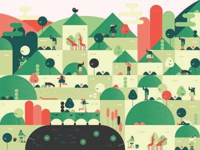 Color test green gif animated design character people fish water lily snake valley tree animal deer giraffe bird building nature geometric