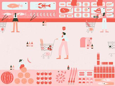 Shop at groceries market grocery design character illustration