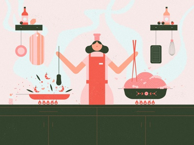 Cooking dinner cook design illustration character