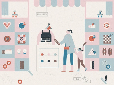 visit to the bakery shop shop bakery design illustration character