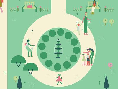 Garden Map - Fountain fountain garden character illustration