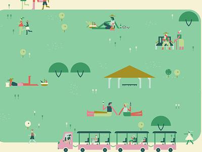 Garden- Picnic picnic garden character illustration