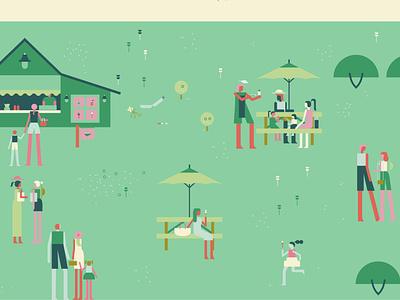 Garden Map - Cafe cafe garden character illustration
