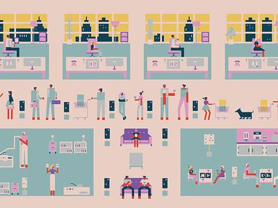 Office branding design characters office illustration