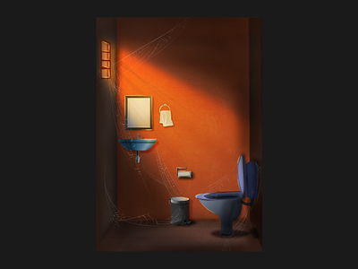 Concept art illustration spiderweb restroom lighting photoshop