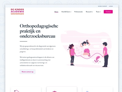 De Kinderacademie webdesign undraw orthographic research pink kids orthopedagogical practice