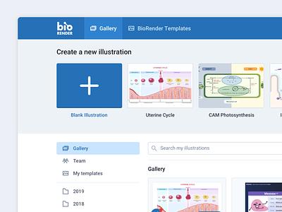 BioRender Gallery Sneakpeek ui ux ui design templates product design dashboard ui home gallery dashboard