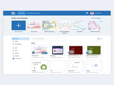 BioRender Gallery Redesign file management file organizer dashboard ui dashboard gallery home