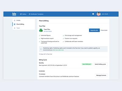 Billing Page ⚙️💳 billing plan settings forms ui ux