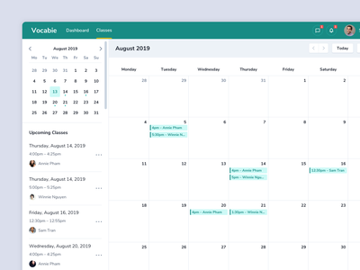 Teaching App – Calendar uiux ui minimal dashboard student teaching classes schedule calendar