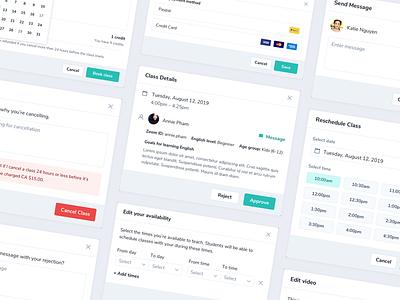 Teaching App – Modals booking scheduling uiux ui minimal dashboard modal window overlay modal