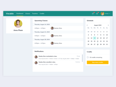 Teaching App – Student Dashboard