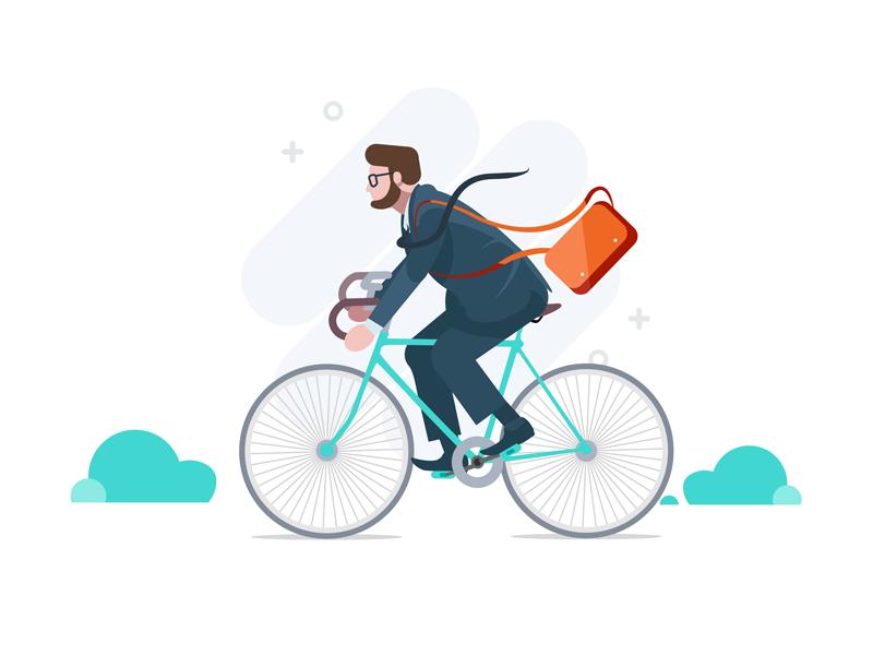 Trip to work dialogue alert men bicycle work illustration