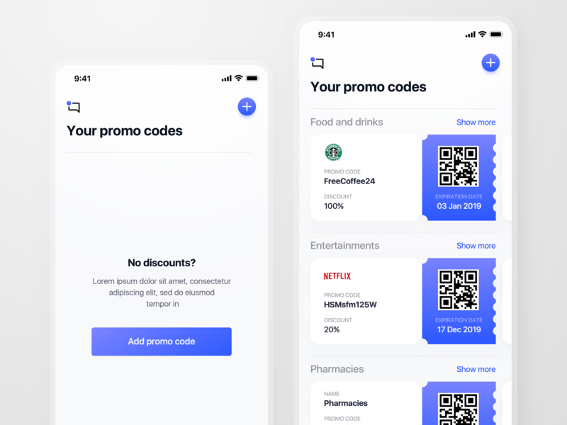 Promo Codes empty state mainpage clean ui offers qrcode discount promo codes