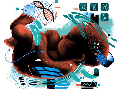 CRISPR Baby data visulization dataviz data viz data visualisation baby health medical data science editorial illustration editorial illustration