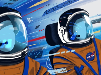 NASA / Cockpit View Style Frame spaceman motion speed data nasa tech aviation cockpit astronaut outer space space science illustration