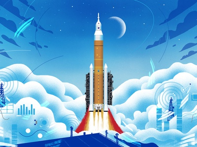 NASA / Artemis video style frame stars sky astronaut aviation moon spaceship rocket data tech outer space outerspace space science illustration