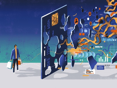 The Washington Post / Credit Card Privacy cyber security cyber technology tech identity security privacy credit card credit money online shopping online conceptual editorial illustration editorial illustration