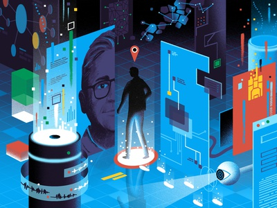 The Washington Post / No Such Thing as Incognito surveillance tracking information security privacy ui data tech technology conceptual science light editorial illustration editorial illustration